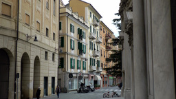 Europe Italy Liguria Savona 030 street in city center with church entrance Footage