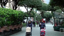 Europe Italy Liguria Savona 035 pedestrian avenue walkway in downtown with trees Footage