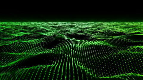 Green motion background, wavy animated surface loop Animation