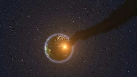Meteor Strike Over Earth Animation
