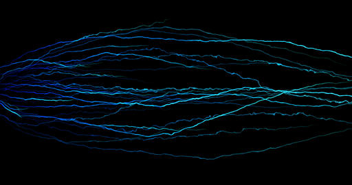 abstract lines movement digital glitter sparkle blue particles with electric shape flowing on blue Live Action