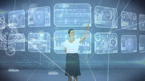 Businesswoman touching a numerical board Animation