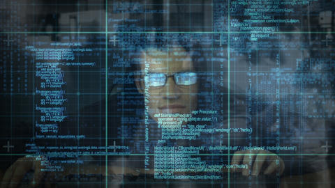 Digital composite of hacker and digital interface Animation