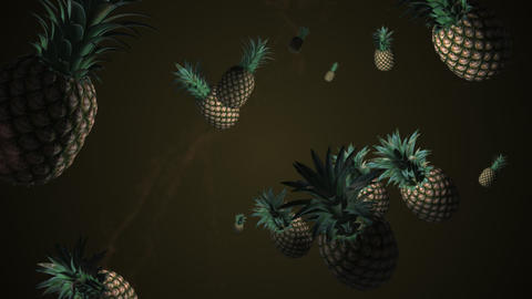 Splash of pineapple. 3D animation. Objects spinning Live Action