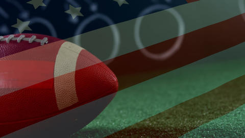 Leather American football ball with american flag Animation