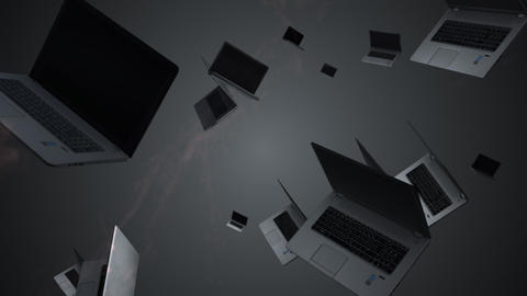 Splash of a laptop. 3D animation. Objects spinning Footage