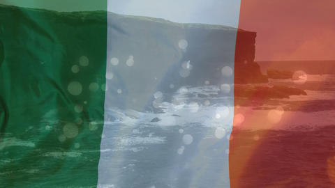 Composition of cliffs with Irish flag in transparency Live Action