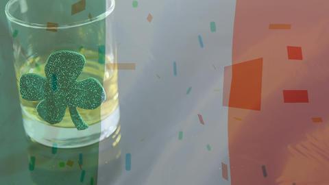 Whisky glass with a shamrock on an Irish flag background Animation