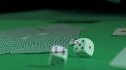Close-up of cards and die Animation