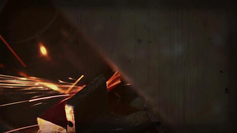 Close Up Metal Sawing With Circular Blade Live Action