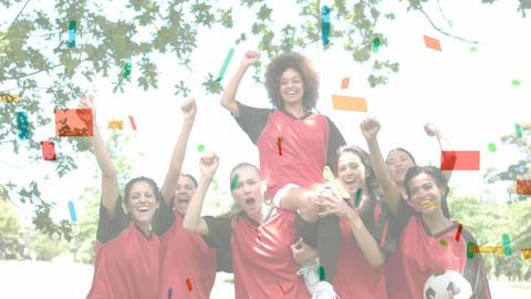 Female soccer team against colourful confetti Animation