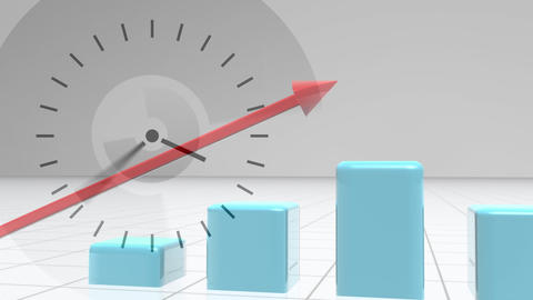 Composition of ticking clock against red arrow showing growth on blue bar chart coming up Animation