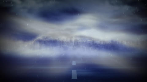 Digital lightning an tornado on a road Animation