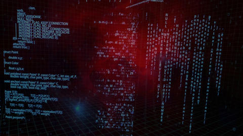 Digital computer messages moving on a red dark digital space Animation