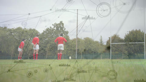 Rugby player kicking the ball between the posts with connections on the foreground Animation