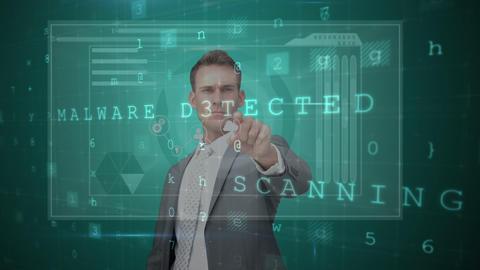 Businessman touching futuristic screen Animation