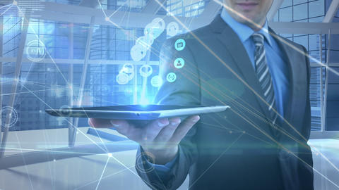 Businessman holding and touching a digital tablet with data connected on the foreground Animation