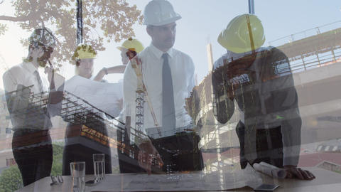 Colleagues worker interacting with a construction site on the background Animation