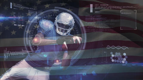 Quarterback diving to catch the ball with an American flag background Animation