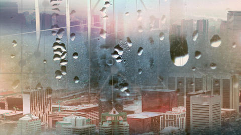 Raindrops on window glass with blur city background Animation