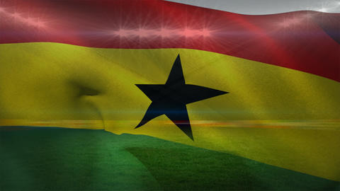 Waving flag of Ghana Animation