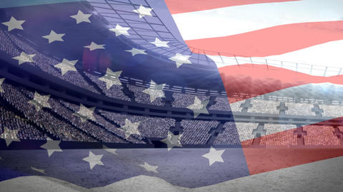 American flag in front of a stadium Animation
