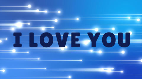 I love you text with shooting stars background Animation