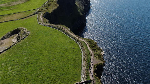 Cliffs of Moher Coastal walk from above - aerial drone footage Live Action