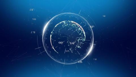 Digital earth sending data on a blue background Animation