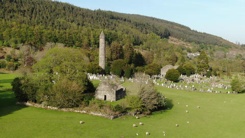 Glendalough from above - flight over the famous landmark in the Irish Wicklow Live Action