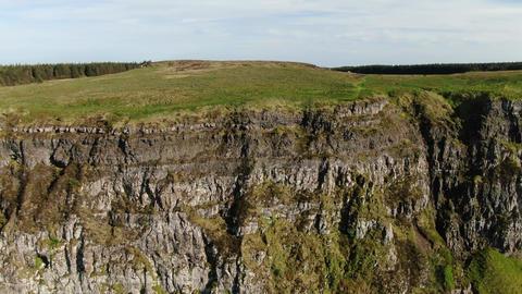 Flight over the Cliffs of Binenenagh in North Ireland Footage