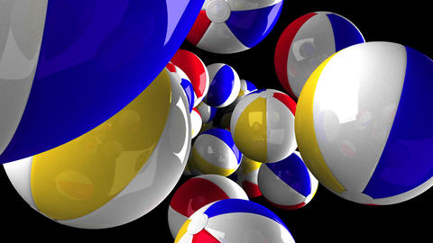 Beach balls on black background Animation