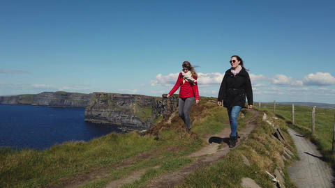 Two women on a vacation trip to the Irish west coast Footage