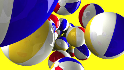 Beach balls on yellow background Animation