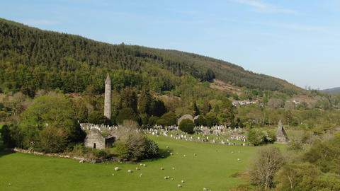 Glendalogh from above - flight over the famous landmark in the Irish Wicklow Live Action