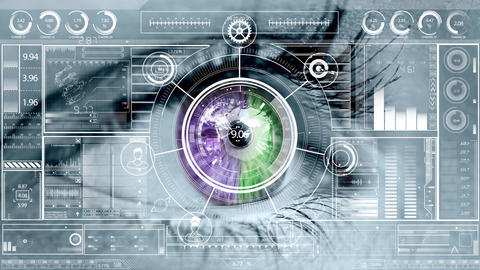 Business technology interface against eye in background Animation