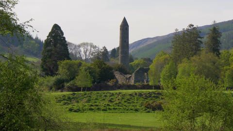 The famous ancient monasty of Glendalough in the Wicklow Mountains of Ireland Footage