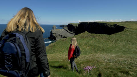 Two girls on vacation in Ireland Footage