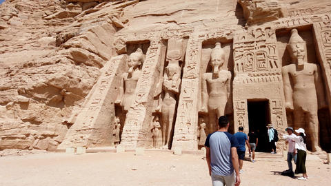 Aswan, Egypt - 2019-04-28 - Philae Temple - Giant Stone Statues Meet All Who Footage
