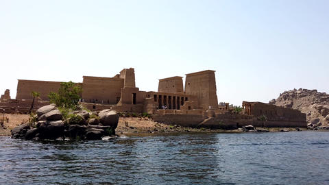 Aswan, Egypt - 2019-04-28 - Ferry Boat Arrives At Philae Temple Footage