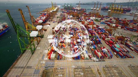 Aerial view of shipping dock with rotating globe Animation
