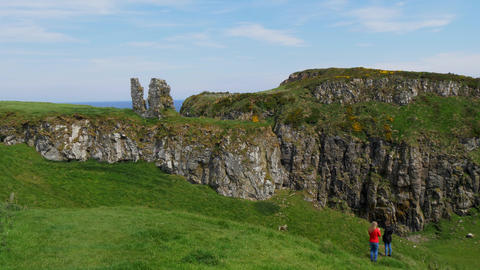 The ruins of Dunseverick castle in Northern Ireland Footage