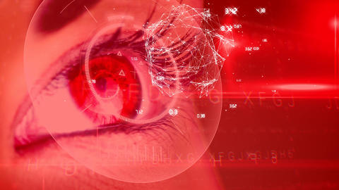 Woman eye with data connections Animation