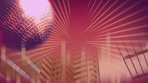 Rotating disco ball against pink background Animation