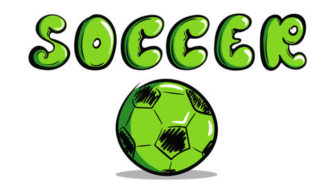 Green soccerball and soccer word Animation