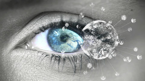 Close up of blue eye looking at globe Animation