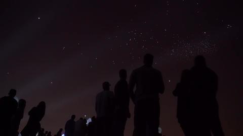 Night lantern balloons far Footage