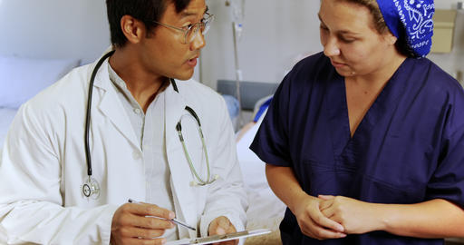 Male doctor interacting with female nurse 4k Live Action