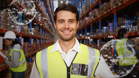 An employer and his team in a warehouse Animation