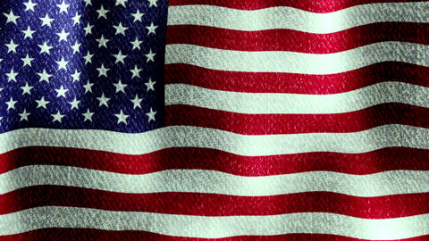 USA Flag Waving (Seamless Lopping Video, Realistic, Fabric), Full Flag Animation